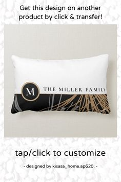 Monogram Family Name   Black White & Gold Ribbons Lumbar Pillow - tap/click to personalize and buy #LumbarPillow #monogram, #monogrammed, #family, #name, #elegant, Black Backgrounds, Colorful Backgrounds, Lumbar Pillow, Bed Pillows, Plain White Background, Gold Color Palettes, Black White Gold, Gold Ribbons, White Ribbon