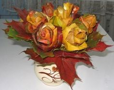 autumn crafts tutorial - roses made from maple leaves