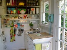 Some of the organizing, decorating, and colors in these spaces are awesome! I like the idea of open shelving.