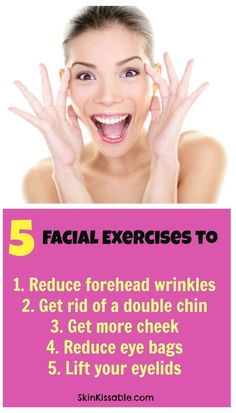 Do Facial Exercises Work? 5 Face Exercises that Really Work (Yes!) Facial yoga for forehead wrinkles, cheeks, eye bags, double chin & eyelids. Practice daily anti aging face exercises to lift the skin. Anti Aging Facial, Anti Aging Tips, Best Anti Aging, Anti Aging Skin Care, Anti Aging Moisturizer, Do Facial Exercises Work, Face Exercises, Double Chin Exercises, Facial Yoga