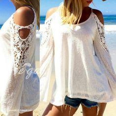 Blusa de verano con mangas de encaje