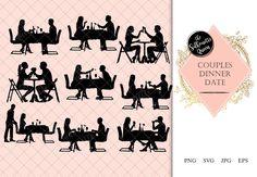 Couple having Dinner Silhouette Restaurant Date Clipart Etsy Clip art Romantic dates Couples dinner
