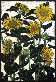 SUNFLOWERS NEWPORT 74.5 X 51 CM    EDITION OF 50 HAND COLOURED LINOCUT ON HANDMADE JAPANESE PAPER $1,250