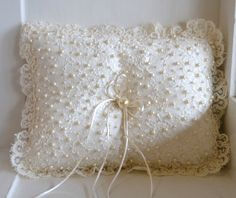 Pearl Ring Bearer Pillow Ring Pillow with by CouturesbyLaura