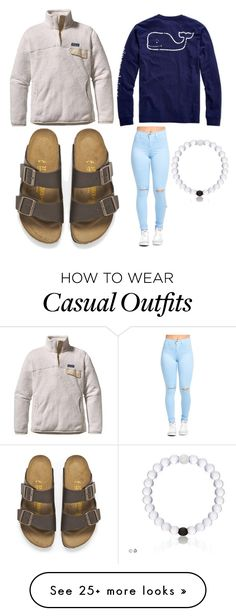 """""""Casual Day"""" by megan-cliv on Polyvore featuring Vineyard Vines, Birkenstock and Patagonia"""