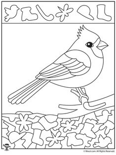 Coloring Pages Winter, Coloring Pages For Kids, Numbers Preschool, Kindergarten Worksheets, Hidden Pictures, Cardinal Birds, Bird Crafts, Winter Crafts For Kids, Bird Drawings