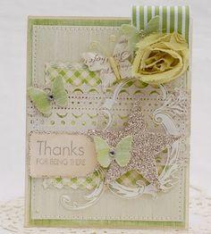 handmade card, butterflies, fabric flower, ribbon