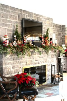 Color Outside the Lines: The Stone Room - Lewiston Tour of Homes Christmas Fireplace Mantels, Fireplace Mantles, Fireplaces, Fireplace Design, Fireplace Ideas, Nutcracker Christmas Decorations, Christmas Centerpieces, Christmas Interiors, Beautiful Christmas