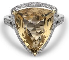 Chalfen of London's Anita ring consists of a stunning yellow topaz. Its unusual shape will attract attention for all the right reasons. Book a viewing.