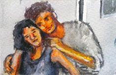 Taschenkunst 2017-39, watercolor on paper,  8,5 x 5,5 cm laminated, 2017.