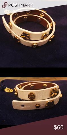 cb9ee514817c Tory Burch Leather Double Wrap Logo Bracelet White leather wrap bracelet in  white with logo studs Tory Burch Jewelry Bracelets