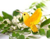 Yellow bird brooch / small bird pin / hummingbird pin / hummingbird jewelry / bird jewelry / woodland pins / wood bird brooch / yellow pin