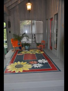 """Rug"" painted on wooden floor! Love this!"