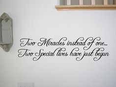Twins Baby Room Wall Quote Decal Nursery Decor by walldecalquotes, $15.99