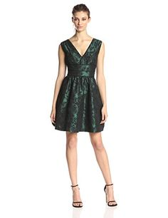 62990427 Jessica Simpson Women's Sleeveless V Neck Lace Fit and Flare Dress, Green,  2 from Jessica Simpson Cyber Monday Black Friday