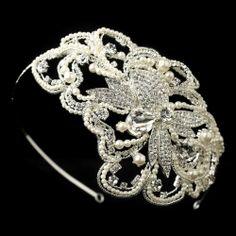 Bold 1920's inspired Pearl and Rhinestone Wedding Headband affordableelegancebridal.com
