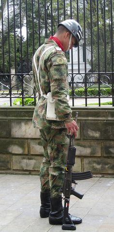 A guard in front of the presidential Palace in Bogota