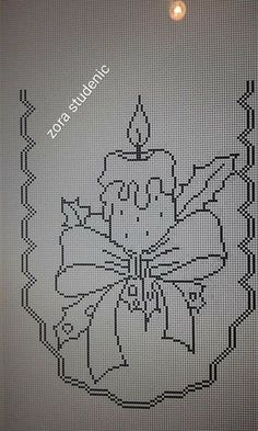 Free Crochet Doily Patterns, Filet Crochet Charts, Christmas Crochet Patterns, Holiday Crochet, Crochet Diagram, Crochet Doilies, Cross Stitch Designs, Cross Stitch Patterns, Cross Stitch Cards