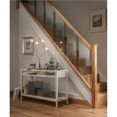 Axxys Reflections Oak and Glass 12 Step Staircase and Landing Balustrade Kit Modern Stairs Axxys Balustrade Glass Kit Landing Oak Reflections Staircase Step House Staircase, Staircase Railings, Staircase Ideas, Banisters, Stairways, Staircase Banister Ideas, Oak Banister, Oak Handrail, Staircase Decoration