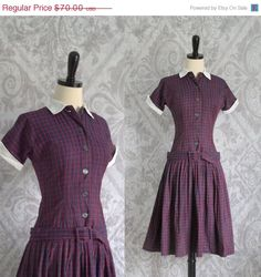 1950s Red Plaid Drop Waist Cotton Dress $54 by SassySisterVintage