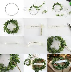 Craftberry Bush: Craft paper and boxwood wreath gift wrap. WHY didn't it occur to me to make my own mini boxwood wreaths???  These tiny ones are cute present decor