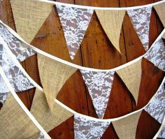 Burlap, Hessian & ivory lace Wedding Bunting Banner 34ft 10mts 58 Flags a Rustic Country cottage, shabby chic style perfect venue decoration