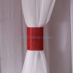Red Rhinestone Mesh Velcro Band / Curtain Tie
