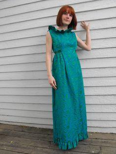 Vintage 60s Dress Party Ruffle Gown Open Back XS S by soulrust, $79.99