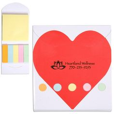 Promotional Heart Pocket Sticky Note Memo Book | Advertising Sticky Flag Holders | Customized Sticky Flag Holders