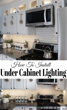 How to install kitchen cabinet lighting under the cabinets with LED tape lights it's easier than you may think and inexpensive! How to install kitchen cabinet lighting under the cabinets with LED tape lights it's easier than you may think and inexpensive! Installing Under Cabinet Lighting, Installing Kitchen Cabinets, Kitchen Counters, Countertop, Kitchen Island, New Kitchen, Kitchen Decor, Kitchen Ideas, Kitchen Cabinet Decorations
