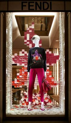 The Fendi PreFall15 collection displayed in the new boutique window theme in Paris.