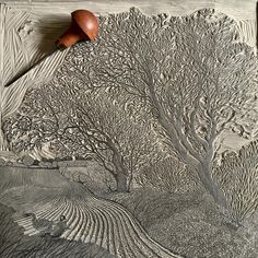 """1,394 Likes, 87 Comments - Vanessa Lubach Linocuts (@vanessalubach) on Instagram: """"Work in progress - I've so nearly finished carving the key block of windswept trees near Cley-next-…"""""""