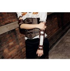 """Steampunk Costume Accessories Faux Leather Bracer Sp028 """"Two Tone Arm Band"""" For more my COMPLETE line of awesome clothing and accessories which you'll LOVE, please visit: http://www.bonanza.com/booths/modadesigns"""