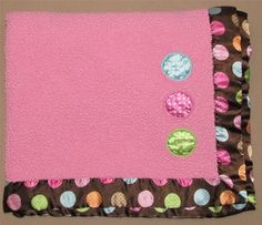 Baby Boom Sherpa Pink Brown Polka Dot Velour Satin Baby Blanket Dark Circle Girl #BabyBoom