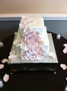 simple cake with giant sugar flower