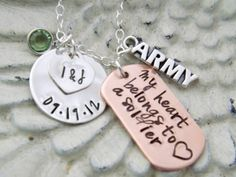 army necklace, personalized necklace-my heart belongs to a soldier, military necklace Personalized Tags, Personalized Necklace, Birthstone Charms, Ribbon Wrap, Have A Beautiful Day, Gifts For My Boyfriend, Sterling Silver Chains, Dog Tags, Hand Stamped