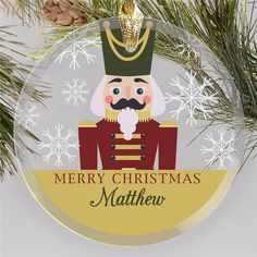 Bring a personalized touch to your Christmas tree this year with a fun personalized nutcracker ornament #glasschristmasornaments #christmasornaments #personalizedchristmasornaments Personalized Christmas Ornaments, Glass Christmas Ornaments, Christmas Bulbs, Merry Christmas, Nutcracker Ornaments, Nutcracker Christmas, Round Glass, Touch, Festive