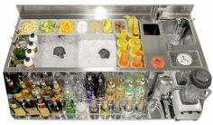 Ice bin, ice well, rack & rail for Bar Cocktail Bar Interior, Cocktail Bar Design, Barra Bar, Bar Counter Design, Inside Bar, Bar Station, Portable Bar, Bar Set Up, Bar Drinks
