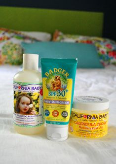 California Baby Super Sensitive Shampoo & Bodywash (for bathtime) from Target  Badger Baby Sunscreen (for sun protection) from Whole Foods  California Baby Calendula Cream (for face, body, diaper rash, cradle cap, eczema, dry skin, etc) from Target