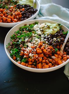 Totally good-for-you kale power salad recipe: Sweet potato, quinoa and black bean power-salad with avocado sauce - cookieandkate.com