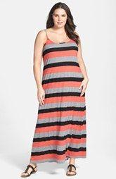 Allen Allen Stripe Tank Dress Maxi (Plus Size)