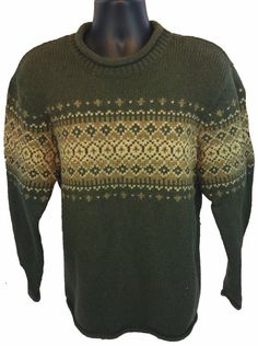 L.L. BEAN Men's Roll Neck Sweater Size XL Size XL Wool Blend X-Large Green