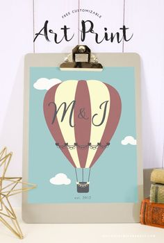 Valentine's day just over a week away—are you ready? If you're looking for a cute, simple gift for your special someone, you're in luck! This customizable hot air balloon printable is just the thing y