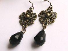 Black Dangle Earrings Black Earrings Black Beaded by hookandline, $7.99