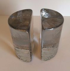 $50…..Pair Marked Vintage Blenko Clear Glass Half Moon Bookends, Excellent Condition | #1853145325