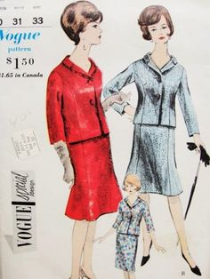 1960s Suit Pattern Vogue Special Design 4313 Couture Style Shorter Jacket Slim or Slightly Flared Skirt Daytime or Cocktail Bust 31 Vintage Sewing Pattern