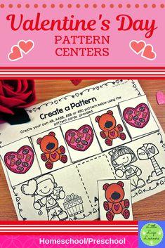 Be Mine Valentine 5 Pattern Lessons Preschool Centers, Numbers Preschool, Math Centers, Preschool Activities, Number Activities, Spanish Activities, Preschool Spanish, Morning Activities, Card Patterns