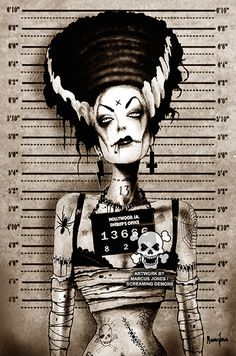 Bride Mugshot by Marcus Jones Frankenstein Tattoo Canvas Art Print