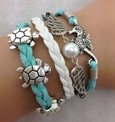 Turtle Friendship Antique Silver Leather Charm Bracelet