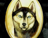 """Hand Painted Cameo Siberian Husky Dog Pendant 14k Gold Fill Set Mother Of Pearl 18"""" GP Necklace Original Art Jewelry Unisex Dog Lovers Gift"""